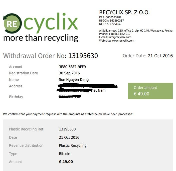 bằng chứng thanh toán recyclix.com