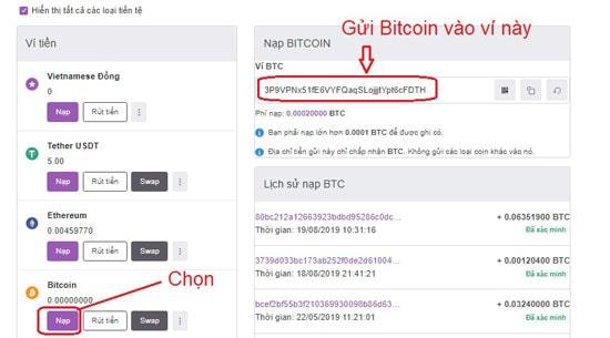 Hướng dẫn gửi bitcoin vào remitano 2020