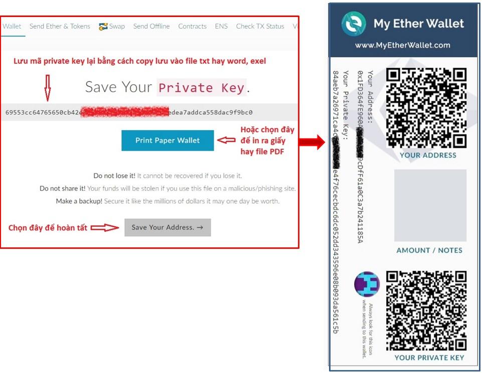 lưu mã private key myetherwallet