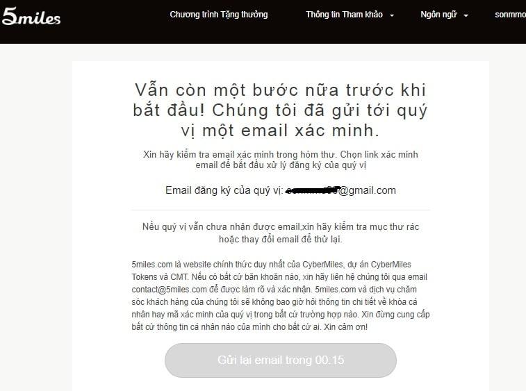 xac thuc email cybermiles