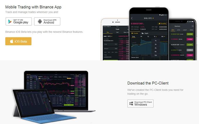 Sàn Binance hỗ trợ web mobile app ios adroid