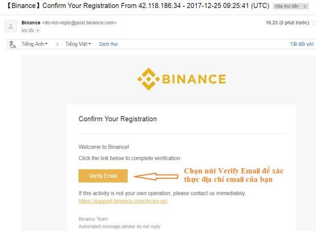 xac thuc email binance