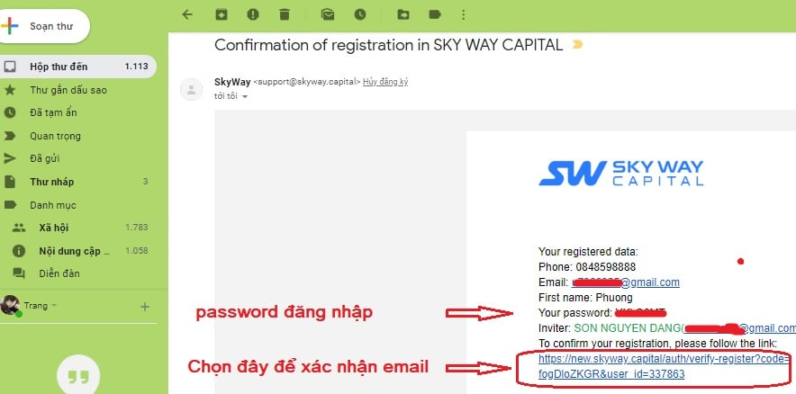 xác nhận email skyway capital