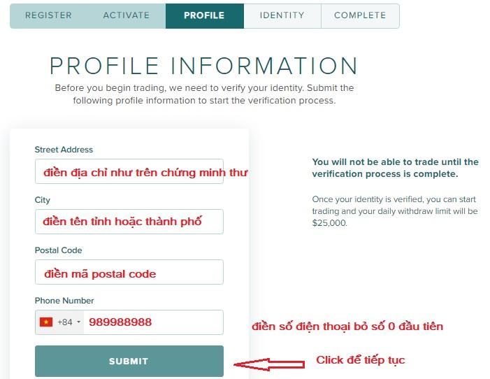 điền form đăng ký poloniex