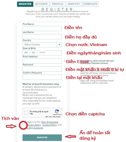 điền thông tin đăng ký poloniex