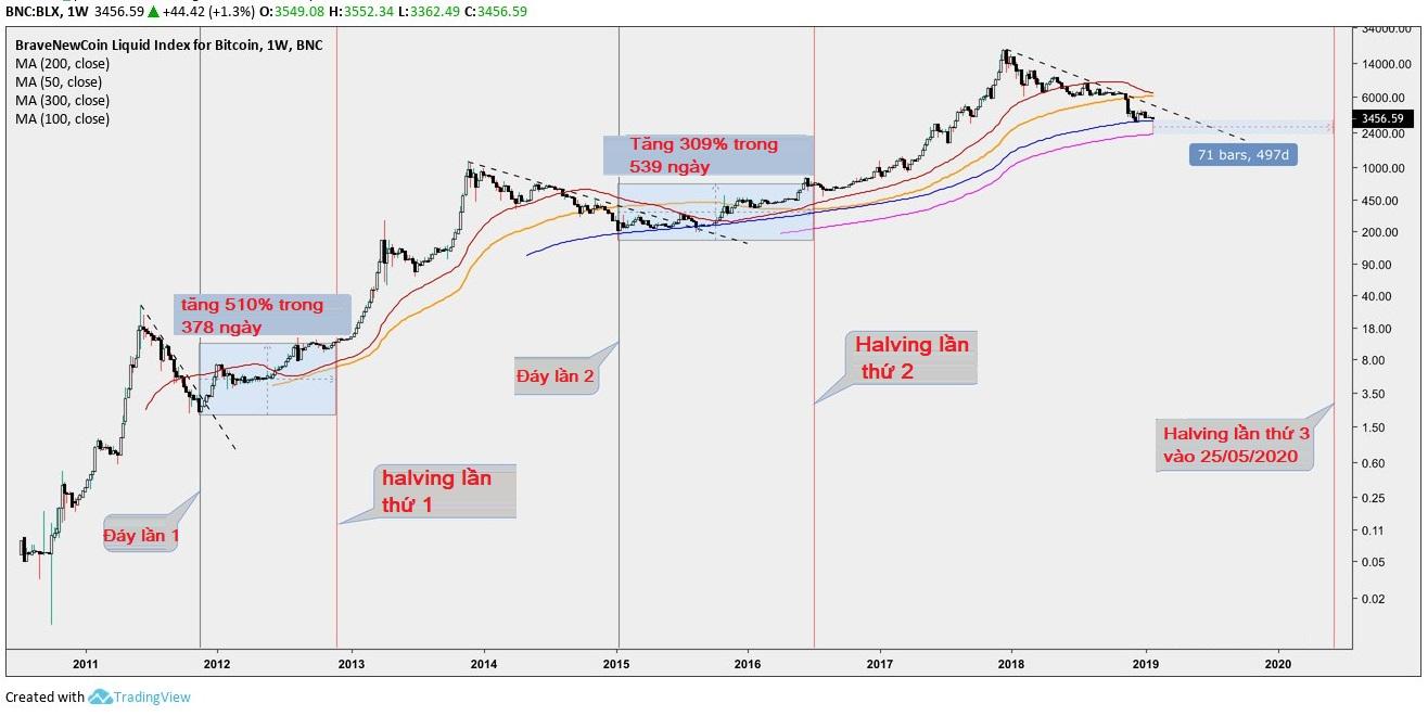 lịch sử giá bitcoin giảm trước halving 2012 2016 2020