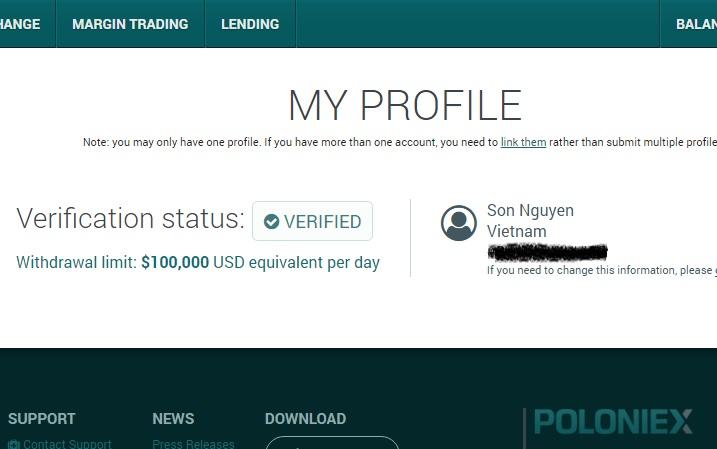 hạn mức 100.000 đô verified poloniex