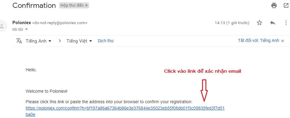 xác nhận email poloniex
