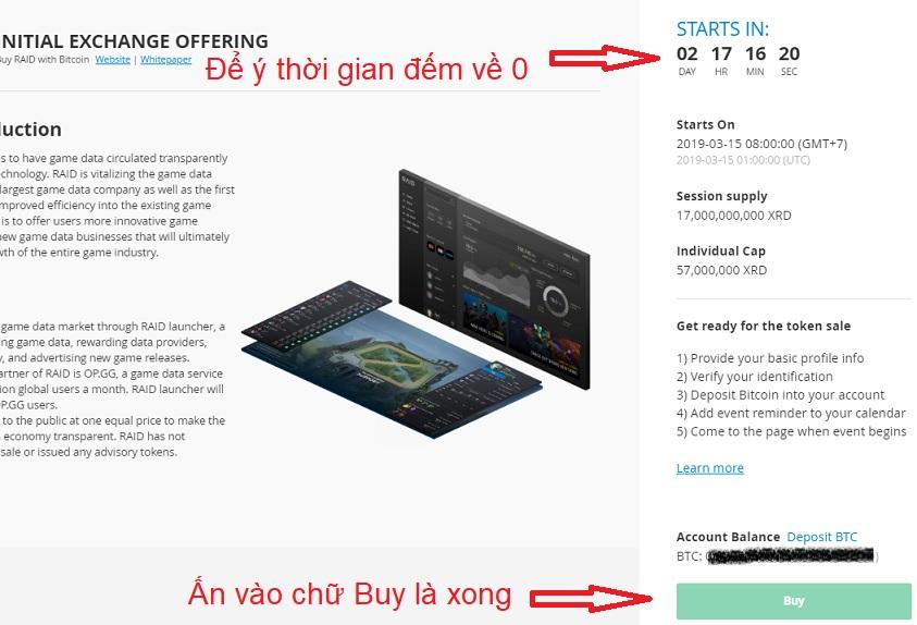 Cách mua IEO Raind XRD trên bittrex