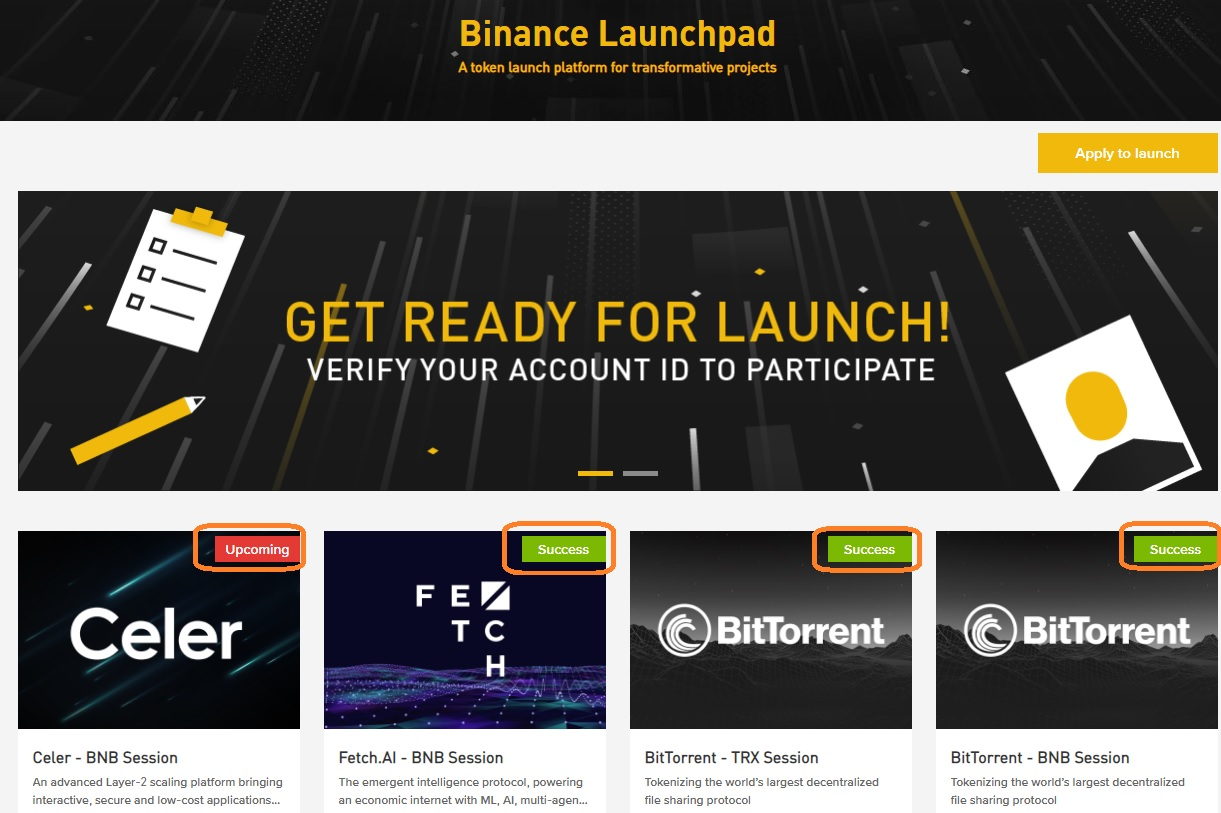 dự án binance launchpad