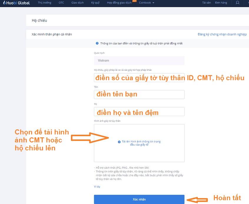 gửi tài liệu xác minh email Huobi Global