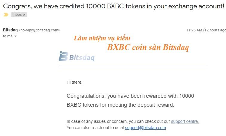 kiếm coin BXBC sàn Bitsdaq