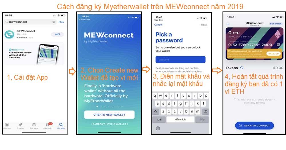 đăng ký ví myetherwallet qua mewconnect 2019