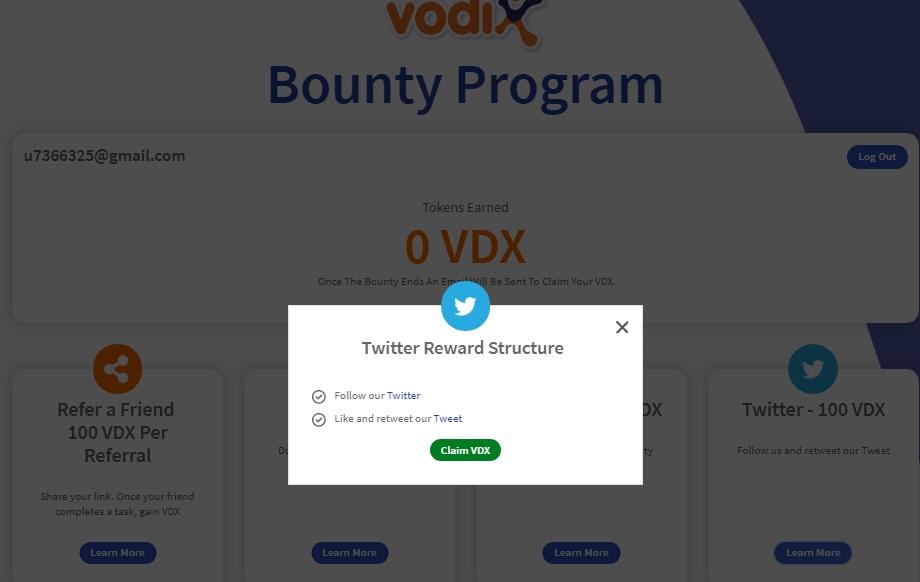 twitter airdrop vdx vodi