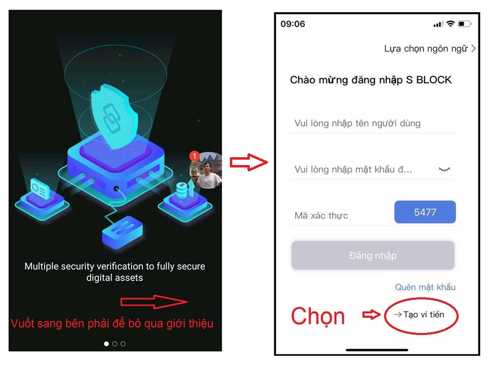 Cách tạo ví S block