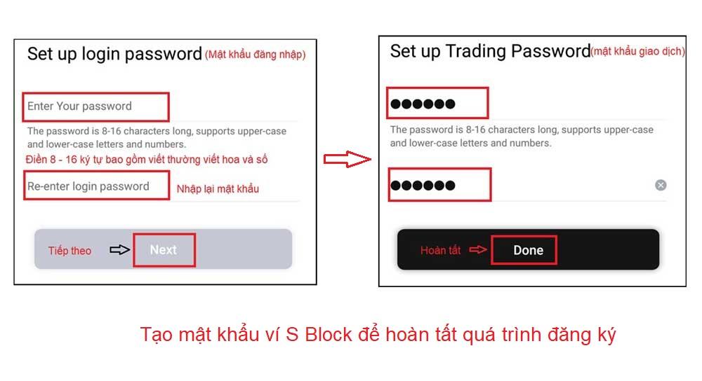 điền mật khẩu S block