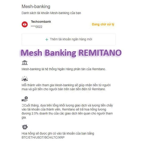 tính năng mesh banking remitano