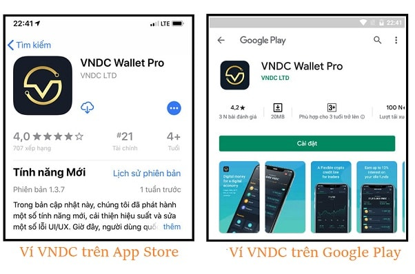 ví vndc wallet trên ios và android
