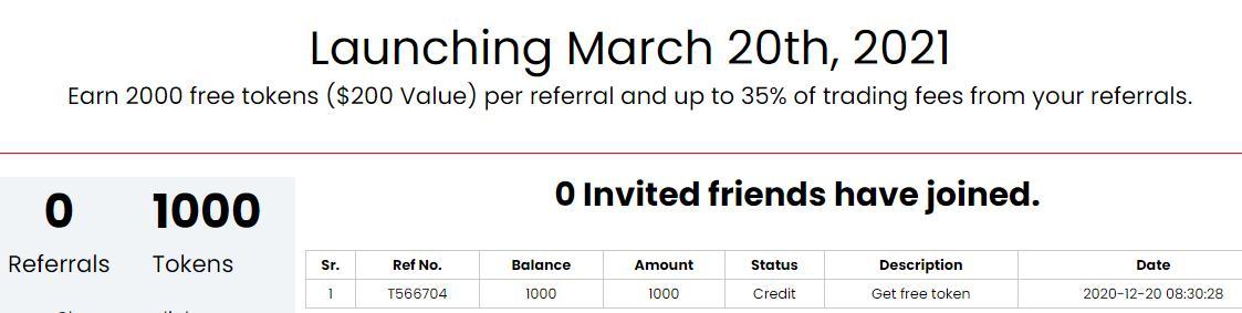 san globalcrypto exchange tặng 1000 token