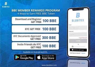 Đăng ký sàn Blubitex tặng 500 BBE token trị giá 30 usd