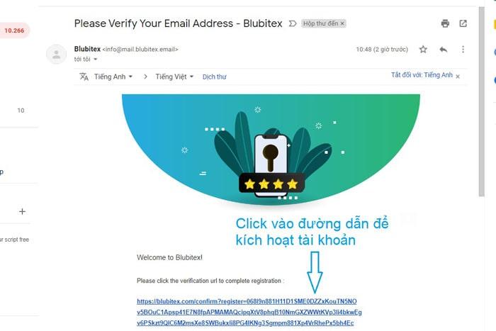 xác nhận email đăng ký sàn blubitex