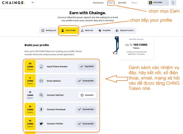 làm nhiệm vụ nhận airdrop chainge finance