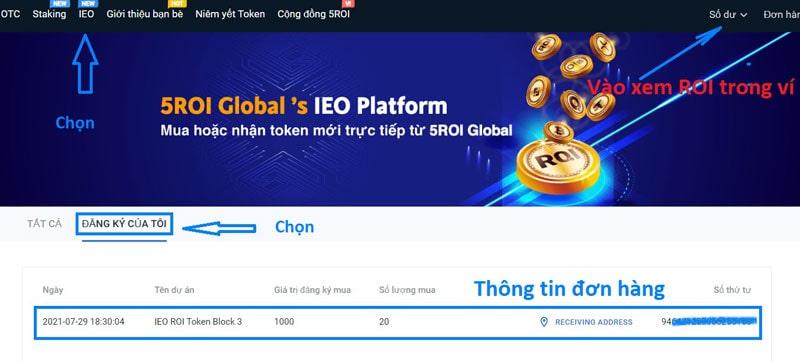 hướng dẫn mua ieo ROI Token sàn 5roi global