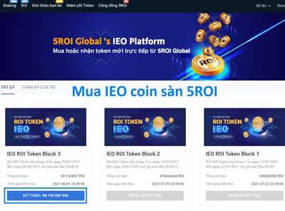 Hướng dẫn mua IEO ROI Token coin sàn 5Roi Global
